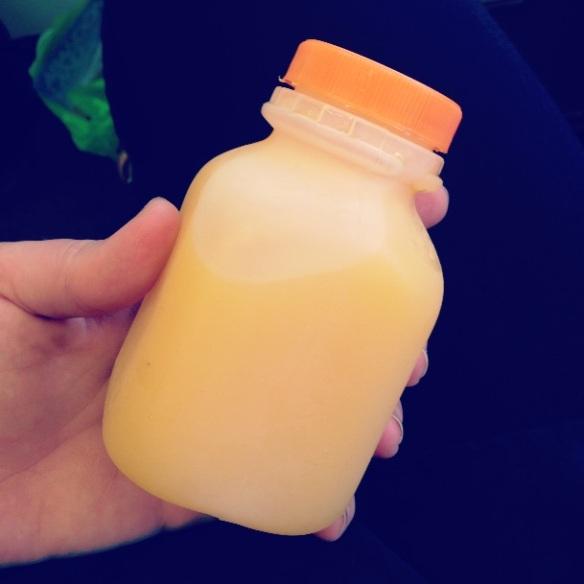 Half fresh orange juice