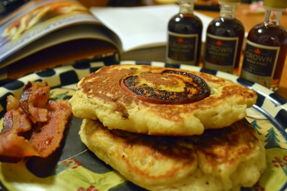 Crown Maple Syrup with pancakes