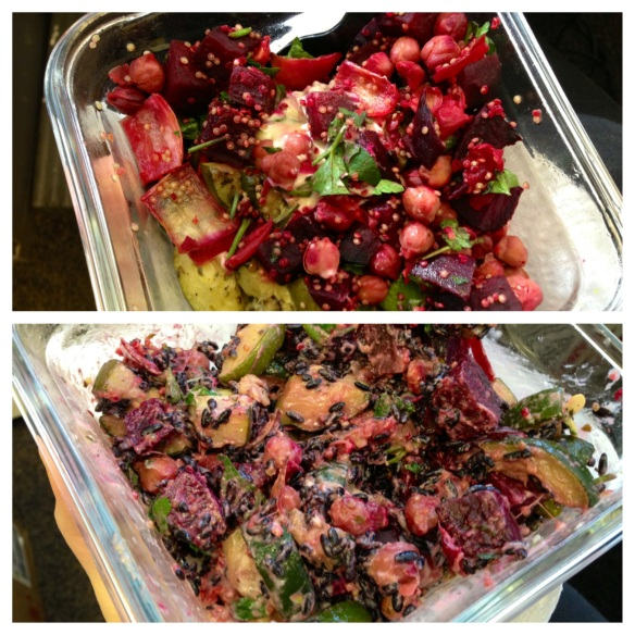 beet chickpea zucchini rice lunch
