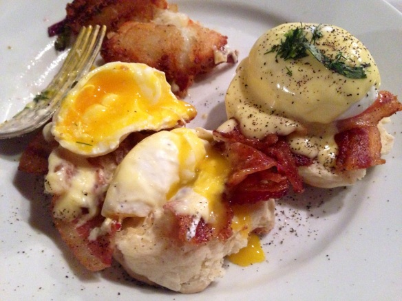 Rye Benedict with bacon